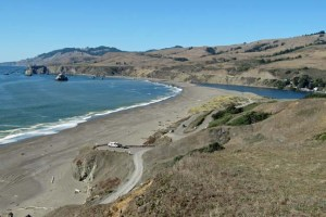 Beach across Russian River at Goat Rock